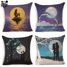 PEIYUAN Linen Fabric Printed Lovers Embrace Moonlight Mermaid Ocean Square Cushion Cover Decor Pillow Case(China)