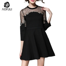 S- 5XL Sheer Lace Patchwork Black Dresses Spring Autumn Fire Shaped Embroidered Short Dress Sexy Big Size Women Clothing 1985(China)