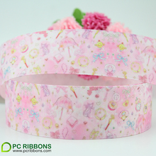 38mm lovely pink printed grosgrain ribbon cute character hair bow accessories material(China)