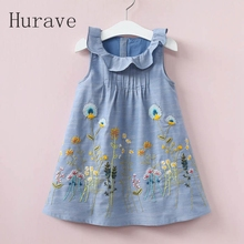 Hurave 2017 girls clothes kids dress embroidery children summer peter pan collar sleeveless print dress flower vestidos