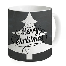 2017 New Design Creative Black Ceramic Coffee Mugs Water Cups Mugs Milk Tea Cup Mug Home Merry Christmas Custom Printed Mug(China)