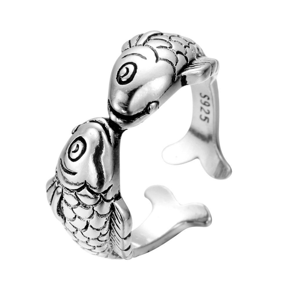 QIAMNI-Antique-Silver-Open-Adjustable-Amazing-Sweet-Lucky-Animal-Double-Kiss-Fishes-Ring-Engagement-Wedding-Party