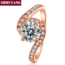 Top Quality ZYR078 Cubic Zirconia Wedding Jewelry Ring Rose Gold Color Austrian Crystals Full Sizes Wholesale(China)
