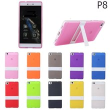 Fashion 2 in 1 Candy Color soft silicone tpu gel with Hard Plastic stand Holder Cover Case for Huawei ascend P8 with screen film(China)