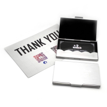 Super cheap !! Business cards ID Credit Card Case Metal Fine Box Holder Stainless Steel Pocket,Design Your Logo/name/email(China)