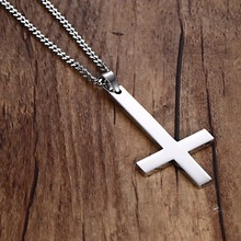 30x55mm Large Inverted Upside Down Cross Pendants in Stainless Steel - Silver, Gold, Black(China)