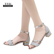 YOUYEDIAN Fashion Women Sequins Sandals Ankle Mid Heel Block Party Open Toe  Shoes zapatos mujer tenis 564acfa5a1a9