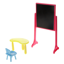 New Arrivals Kids Plastic Black Board Table & Chair Dollhouse Furniture Toys for Dolls Accessories Doll House Decoration(China)
