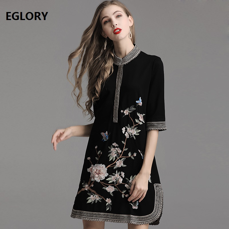 Top Quality Brand Chinese Dress 2019 Summer Fashion Party Vintage Women Luxurious Embroidery Dress Plus Size Clothing 50s 60s