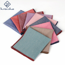 2017 Brand New Casual Men's Cotton Handkerchiefs Candy color Pocket Square Male Wedding Party Handkerchief Sold Towels Hanky