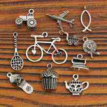 Tibetan Silver Plated Bicycle Plane Car Fish Slipper Charms Pendants Bracelet Jewelry Diy Jewelry Findings Mixed Styles 11pcs(China)