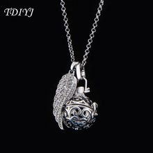 TDIYJ Steel Silver Angel Pregnant Pendant Necklace Harmonious Ball Cage 18mm for Baby Sounds Chime Ball Mexican Jewelry 1Set(China)