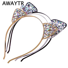 AWAYTR Girls Hair Accessories Cat Ear Hair Bands Cute Girl Crown Tiara Headband Rhinestone Hairband Gold Plated Women Bezel