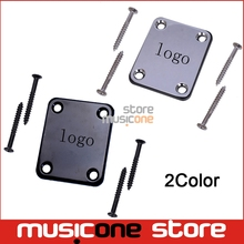 Black Chrome Electric Guitar Neck Plate Neck Plate Fix Tele Telecaster Guitar Neck Joint Board(China)