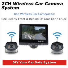 "ANSHILONG 7"" TFT Color LCD Monitor Wireless Car Rearview System with 2pcs Infrared Weatherproof Cameras 2CH Display"