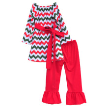 2016 Kids Clothing Girls Chevron Dress Red Leggings Waist Belt Design Toddler Girls Christmas Outfits Cotton Baby Clothes C011
