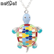 Newei Maxi Alloy Fine Enamel Tortoise Necklace Chain Pendant 2016 News Fashion Jewelry For Women Statement Charm Collar Animal(China)