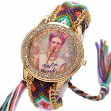 Rainbow Geneva Watch Women vintage hippie Mexican Rhinestone Style dial Fridas Fashion wristwatch Lace Chain Braid Reloj(China)