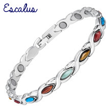 Channah 2017 Bio Colourful Women Bracelets Semi-Precious Stones Magnetic Stainless Steel Ladies Bangles Wristband Charm Female(China)