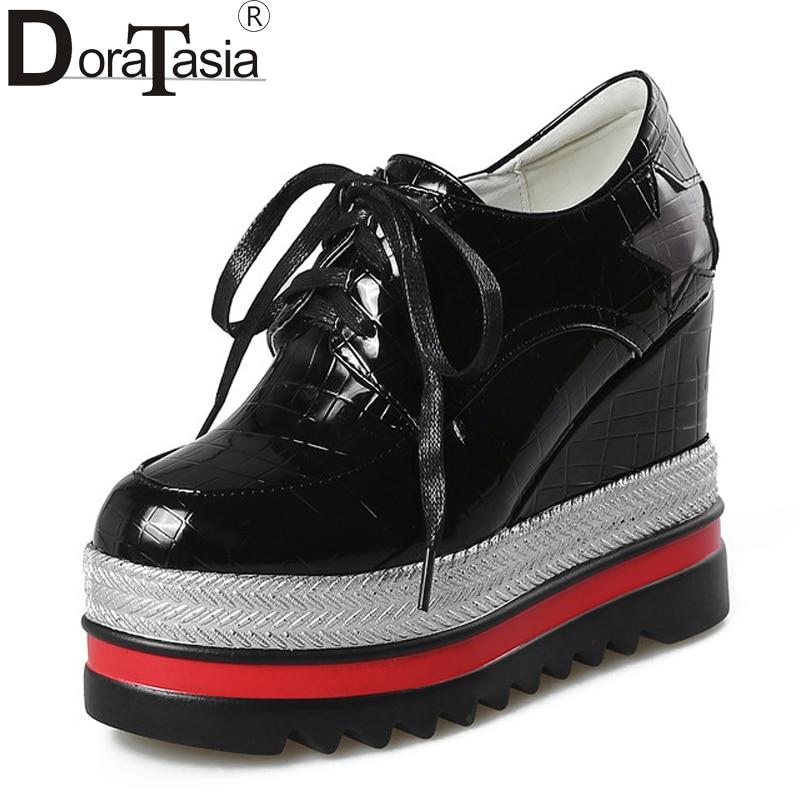 DoraTasia Womens High Heel Hidden Wedges Straw Edge Rubber Sole Platform Oxfords Spring Casual Shoes<br>