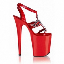 red sandals metal chain Roman 20 cm super high heels high heels wedding shoes hollow out interest