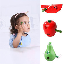 Small Size Early Learning Educational Toy Carpenterworm Eating Apples and Pears and Watermelons Model Puzzle Threading Toys(China)