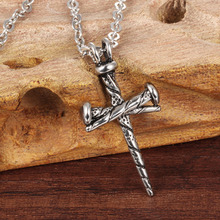 OMENG 2017 New Men titanium steel necklace Europe and America personality nail casting Cross Pendant XL835(China)
