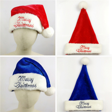 3pcs Christmas Santa Cap Hat Plush Embroidered Happy Xmas Holiday Gifts Fit Adult Unisex High quality red blue Santa Claus Hats