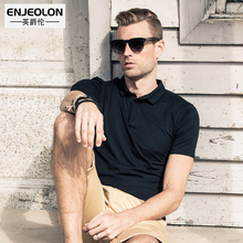 Enjeolon brand top classic short sleeve solid cotton polo stand collar clothing 3 color solid casual men polo shirt T1686(China)