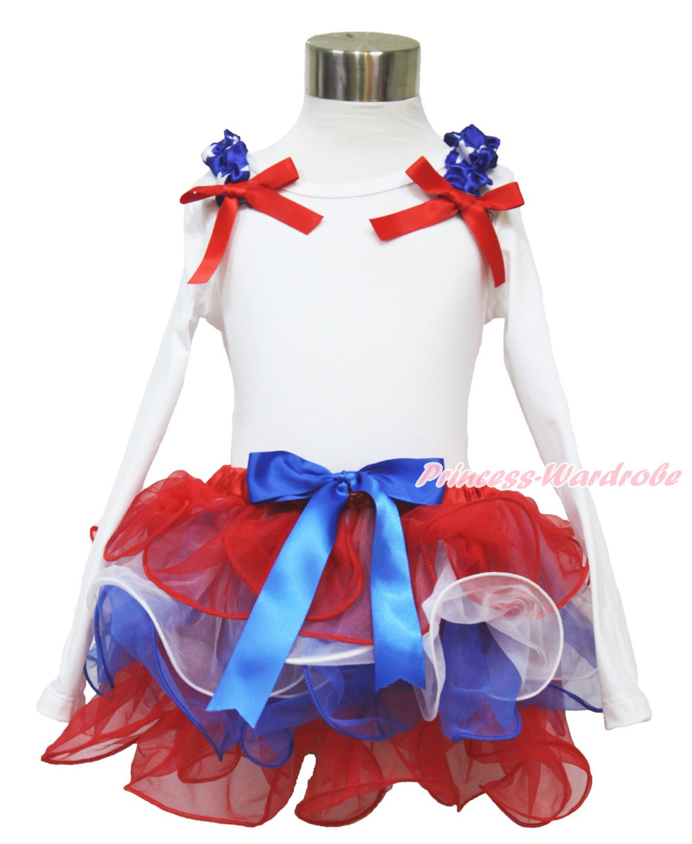 4th July Patriotic Ruffle Bow White Long Sleeves Pettitop Red White Blue Bow Petal Pettiskirt NB-8Year MAMH219<br>