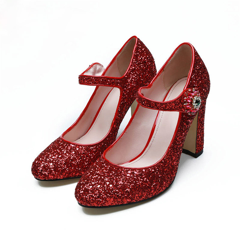 Fashion-sequined-cloth-women-pumps-genuine-leather-classic-round-toe-one-belt-strap-chunky-high-heels (1)