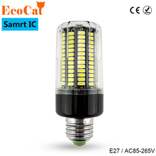 ECO Cat Real No Flicker LED Bulb E27 220V Smart Power IC Design LED lamp 5736 SMD Spot light High Lumen corn lights(China)