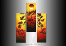 Hot Yellow Modern Original Chinese Tree Sun Oil Painting On Canvas Digital Art 3 Panel Set Home Wall Pictures For Living Room