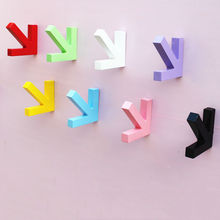 Urijk Colorful Creative Arrow Wall Mounted Color Painting Wood Hook Hanger Hat Coat Door Clothes Rack For Home Decoration