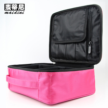 Women Makeup Bags Professional Cosmetic Cases Pink Black Beauty Organizer Toilet Kits Storage Bag Female Travel Wash Pouch(China)