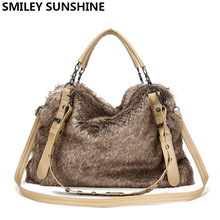 SMILEY SUNSHINE winter faux fur handbags big women shoulder bag crossbody bags large tote purse and handbag with fur bolsas 2018(China)