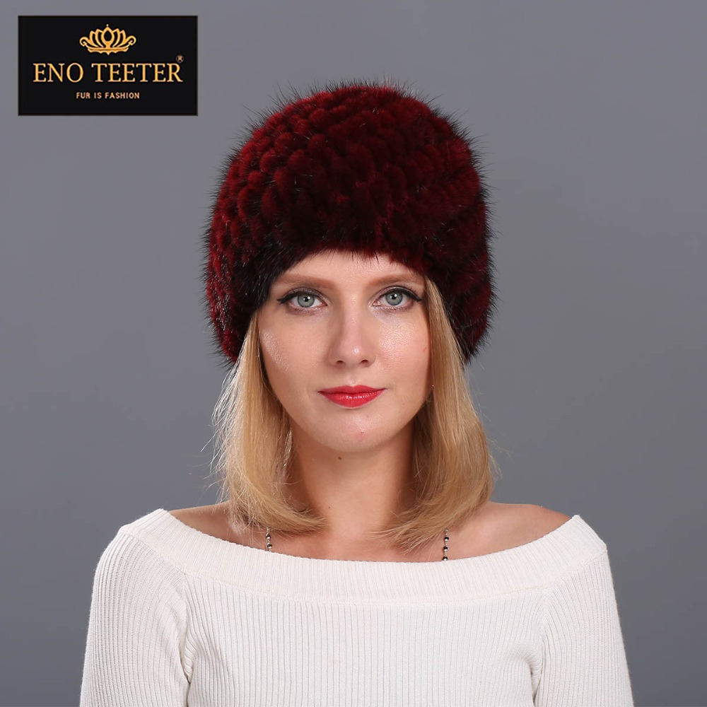 Winter Women Fur Cap  Natural Knitted Mink Fur Hat Beanies  Warm Headgear 5 colors Fast Shipping Îäåæäà è àêñåññóàðû<br><br>