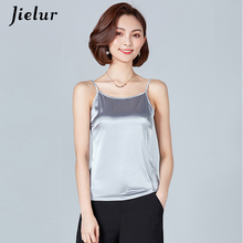 Buy Jielur Sexy Camis Female Solid Color Sleeveless Vest Fashion Korean Halter Tops Summer Chic Casual Silk Camisole Mujer Tank Top