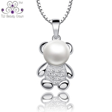 Real 925 Sterling Silver Jewelry Cute White Natural Freshwater Pearl Teddy Bear Pendant Necklaces For Women Girls Christmas Gift(China)
