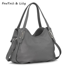 FoxTail & Lily All Seasons Luxury Genuine Leather Bag for Women Soft Leather Handbag Ladies Casual Shoulder Messenger Bags(China)
