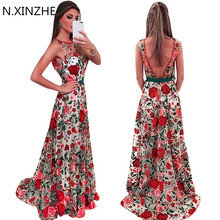 Women Runway Embroidery Flower Dress Summer Mesh Maxi Dress Designer Dresses Long Sexy Dress Clothing Vestidos ukraine 2017 B103