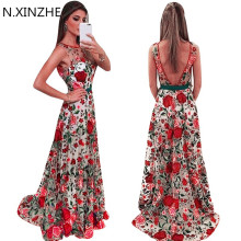 Buy Women Runway Embroidery Flower Dress Summer Mesh Maxi Dress Designer Dresses Long Sexy Dress Clothing Vestidos ukraine 2017 B103 for $29.82 in AliExpress store