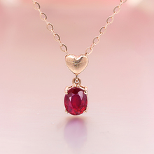 Robira New Style Fashion Natural Ruby Heart Necklace Pendant For Women Real 18K Rose Gold Fine Jewelry Necklace Rope Chain Gift(China)