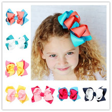 2pc/lot 5 inch boutique kids big Double decorations accessories hairpins band ribbon bow with clips for girls hair clip hairpins