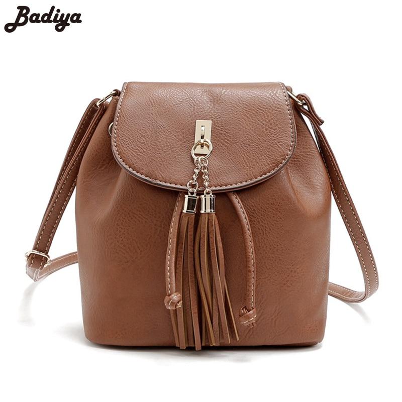 Vintage Casual Sac Leather PU Solid Elegant Bucket Bag Girls Large Capacity Messenger Bag Fringed Bolsa Feminina Womens Handbag<br><br>Aliexpress