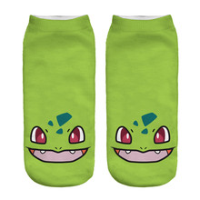 Best Price Women's Casual Cartoon Character Socks 3D Printed Socks Green Color Low Cut Ankle Socks for Adults(China)