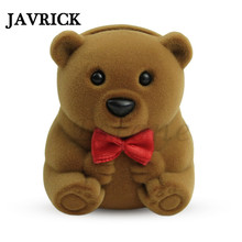 JAVRICK Velvet Bowknot Bear Ring Earring Bracelet Jewelry Display Box Case Xmas Gift 1Pc ZB380