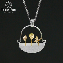 Lotus Fun 925 Sterling Silver Pendants for Women Jewel Baskets Grass Butterfly Pendants without Chain Fine Jewelry Dropshipping(China)