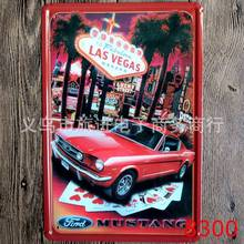 [ Mike86 ] Las Vegas Red Car Mustang Retro Tin sign Art Wall Decor House Cafe Bar Vintage Metal signs A-300 Mix order 20*30 CM