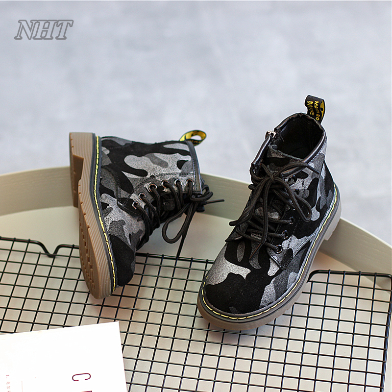Nauhutu camouflage shoes designer children western boots outdoor rubber strong shoe platform autumn girl boy fit winter boot <br>
